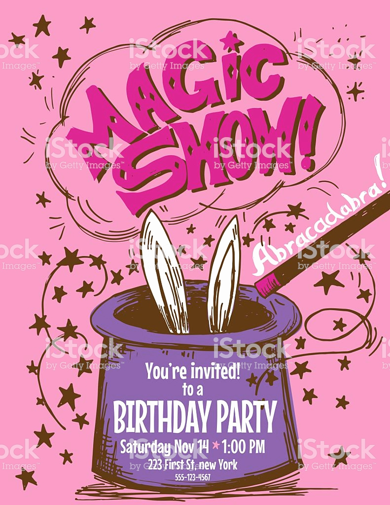 Magic Show Invitation Template Free Elegant Hand Drawn Magic Show Birthday Party Invitation Template