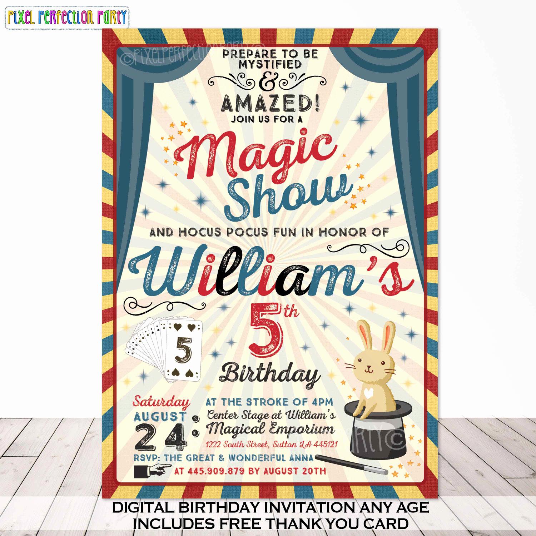 Magic Show Invitation Template Free Elegant Magic Party Invitation Magic Birthday Invitation Magician