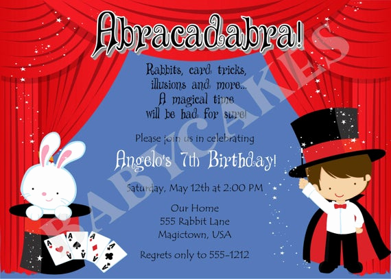 Magic Show Invitation Template Free Elegant Magic Show Birthday Invitation Diy Print Your Own by