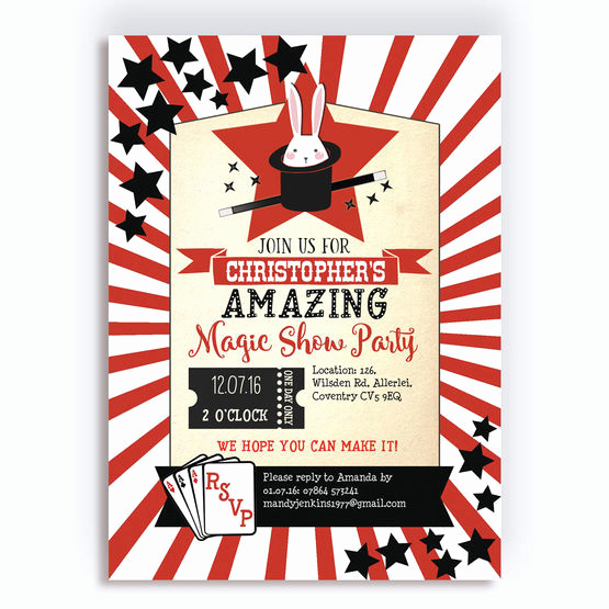 Magic Show Invitation Template Free Elegant Magic Show Party Invitation From £0 80 Each