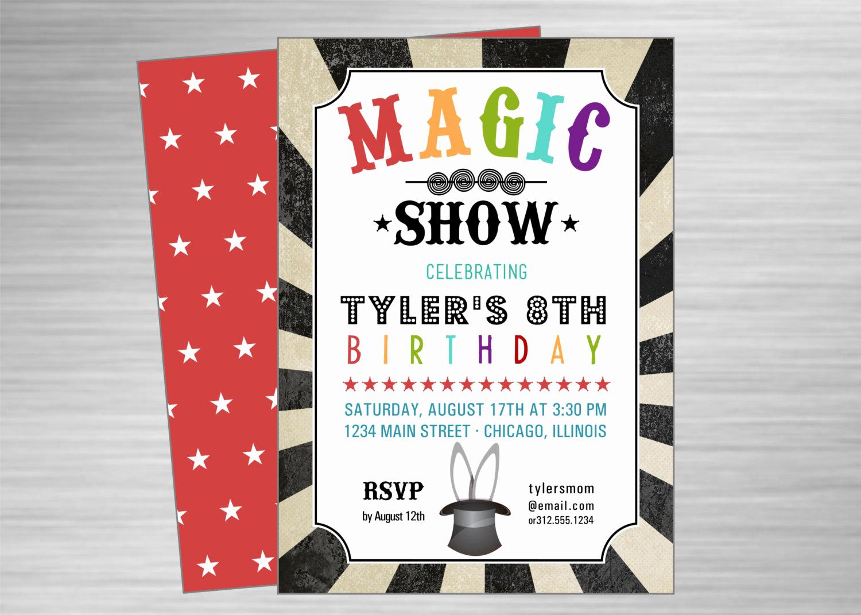 Magic Show Invitation Template Free Elegant Magic Show Printable Party Invitation