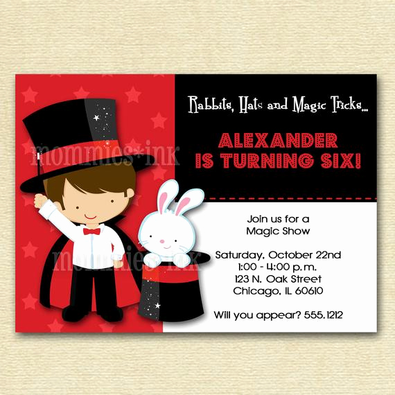 Magic Show Invitation Template Free Fresh Magic Show Birthday Party Invitation Option by