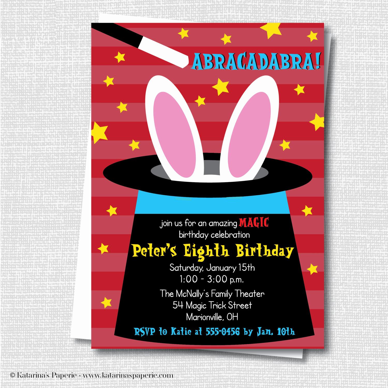 Magic Show Invitation Template Free Unique Boy Magic Birthday Party Invitation Magic by Katarinaspaperie