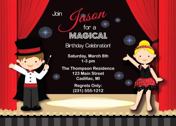 Magic Show Invitation Template Free Unique Magic Show Invitation Kids Birthday Invitation Party