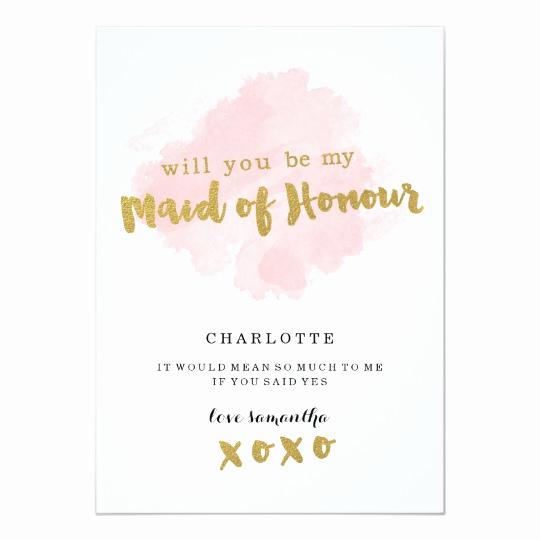 Maid Of Honor Invitation Ideas Elegant Gold and Blush Will You Be My Maid Of Honour Invitation