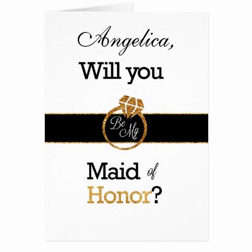 Maid Of Honor Invitation Ideas Inspirational Glitter Will You Be My Maid Of Honor Invitation