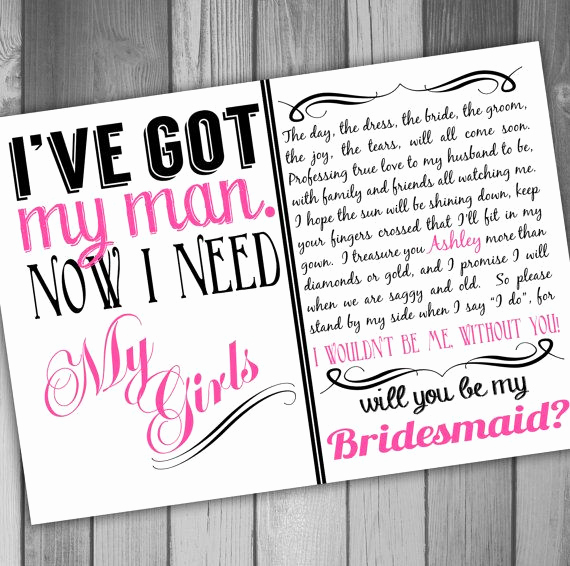Maid Of Honor Invitation Ideas Unique Will You Be My Bridesmaid Invitation Printable Bridal