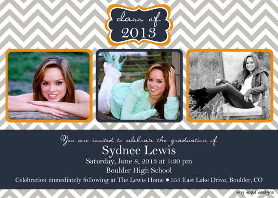 Make A Graduation Invitation Fresh Chevron Block Graduation Announcement Graduation Invitation