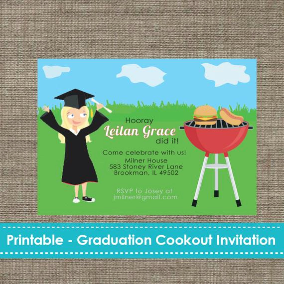 Make A Graduation Invitation Luxury Graduation Cookout Party Invitation Diy Printable
