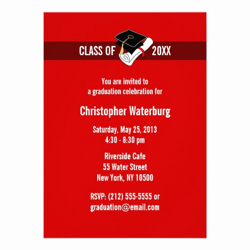 "Make Your Own Graduation Invitation Awesome Create Your Own Graduation Invitation Red 10 4 5"" X 6 25"