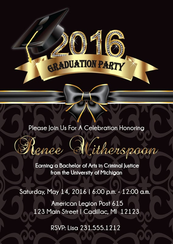 Making A Graduation Invitation Elegant 2016 Graduation Invitation Elegant Graduation Announcement