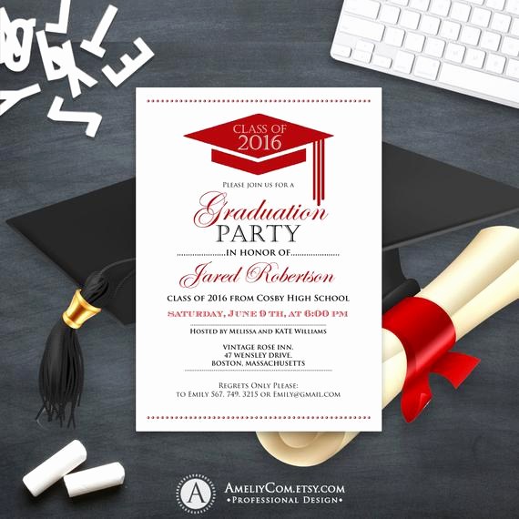 Making A Graduation Invitation Inspirational Graduation Announcement Boy Printable Template Red High School