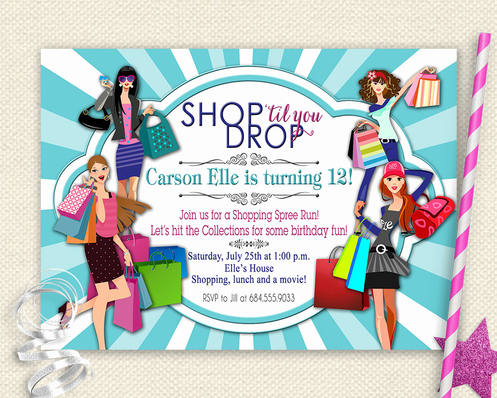 Mall Scavenger Hunt Invitation Elegant Girls Day Out Invitation Shopping Birthday Invitation Mall