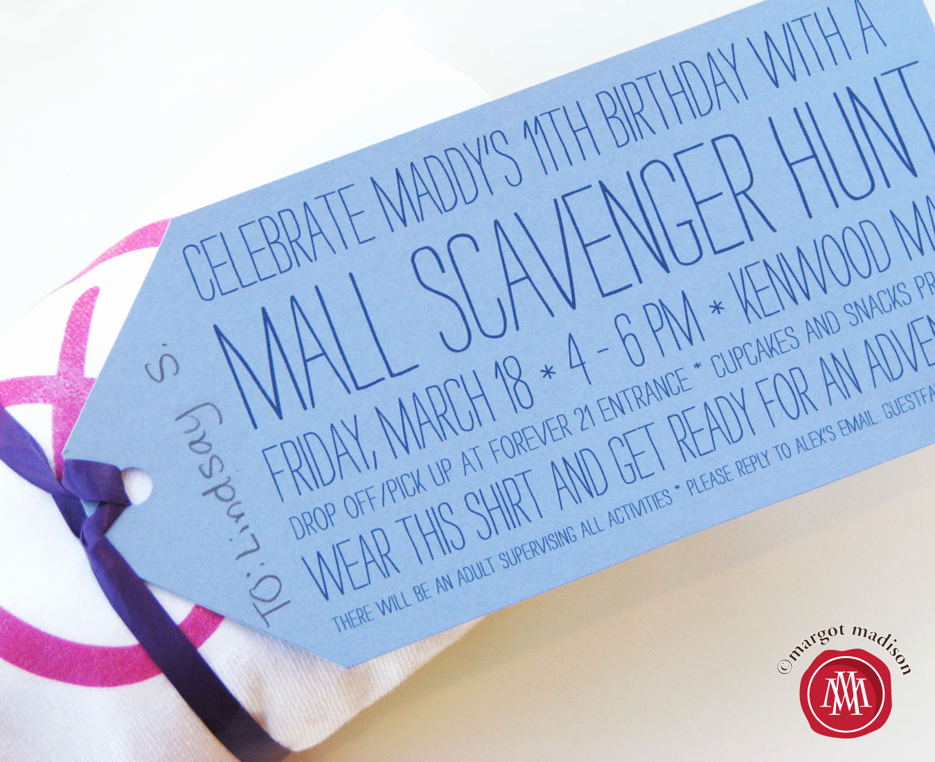 Mall Scavenger Hunt Invitation Elegant Margotmadison Mall Scavenger Hunt Party for Tweens