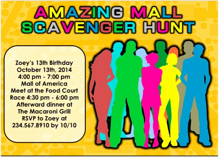 Mall Scavenger Hunt Invitation Elegant Printable Mall Scavenger Hunt Party Kit