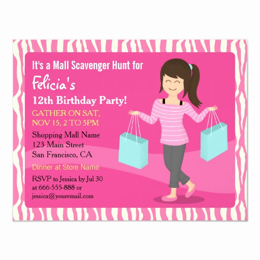 Mall Scavenger Hunt Invitation Fresh Mall Scavenger Hunt Birthday Party Zebra Print