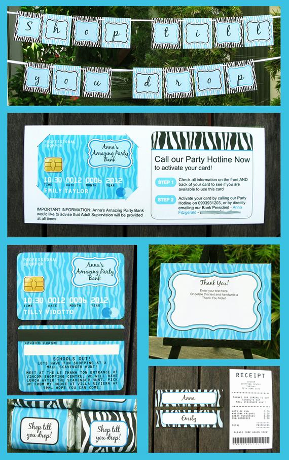 Mall Scavenger Hunt Invitation Fresh Mall Scavenger Hunt Invitations Credit Card by Simonemadeit