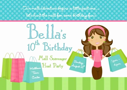 Mall Scavenger Hunt Invitation Fresh Shopping Mall Scavenger Hunt Birthday Party Personalized