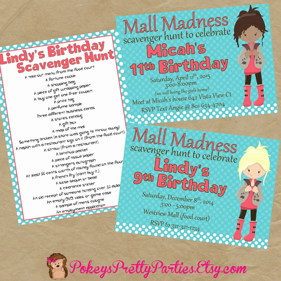 Mall Scavenger Hunt Invitation New Items Similar to Mall Scavenger Hunt Birthday Party