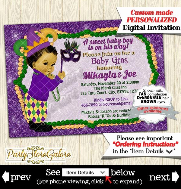 Mardi Gras Invitation Ideas Awesome Mardi Gras Baby Shower Invitations Boys Green Purple Gold