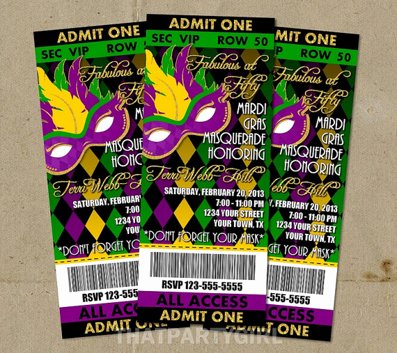 Mardi Gras Invitation Ideas Awesome Mardi Gras Masquerade Party Ticket Style Invitations Diy