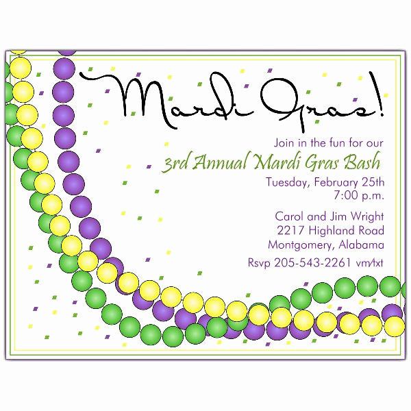 Mardi Gras Invitation Ideas Beautiful Mardi Gras Invitations Beads