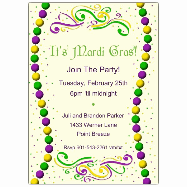 Mardi Gras Invitation Ideas Fresh Beaded Mardi Gras Party Invitations