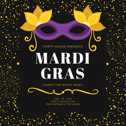 Mardi Gras Invitation Ideas Lovely Black and Yellow Speckles Mardi Gras Party Invitation