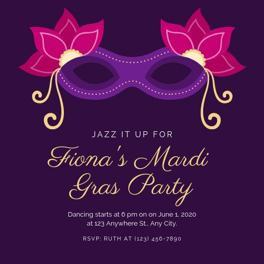 Mardi Gras Invitation Ideas New Customize 82 Mardi Gras Invitation Templates Online Canva