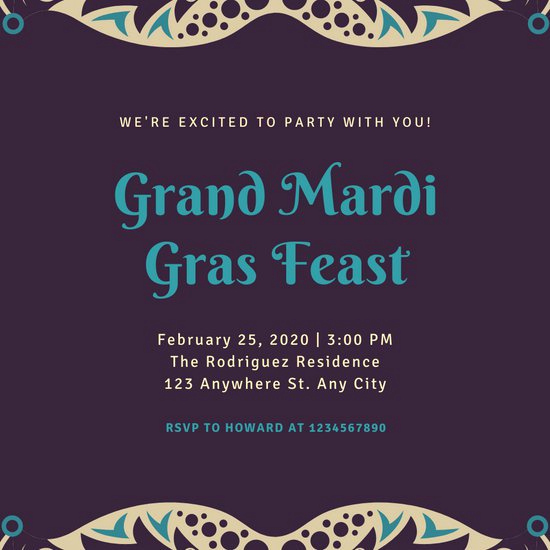 Mardi Gras Invitation Template Awesome Customize 76 Mardi Gras Invitation Templates Online Canva