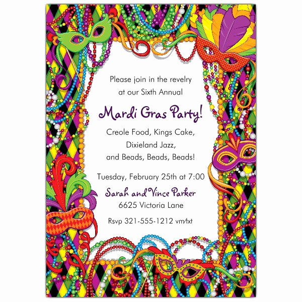 Mardi Gras Invitation Template Beautiful Mardi Gras Plaid Invitations