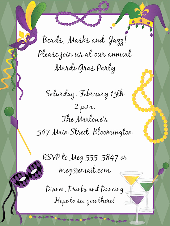 Mardi Gras Invitation Template Best Of Mardi Gras Invitation