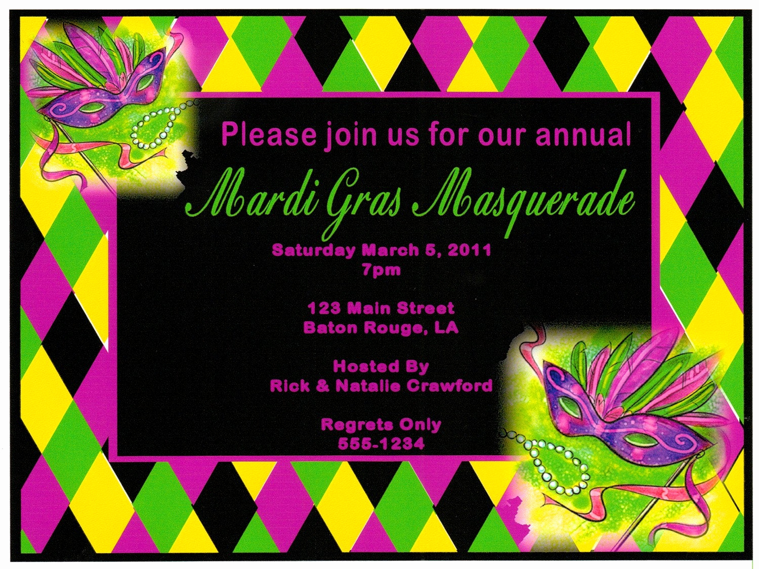 Mardi Gras Invitation Template Elegant Customized Mardi Gras Masquerade Invitations by Partytimefun