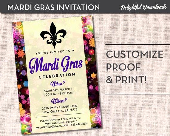 Mardi Gras Invitation Template Elegant Mardi Gras Invitation Multicolor Fleur De Lis Printable
