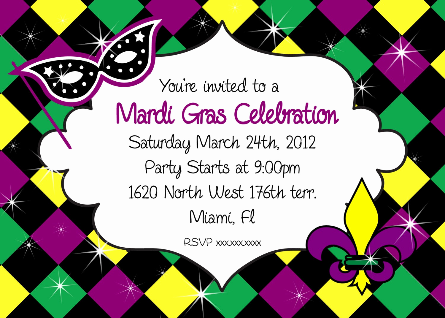 Mardi Gras Invitation Template Fresh Mardi Gras Invitation Party Printable Invitation