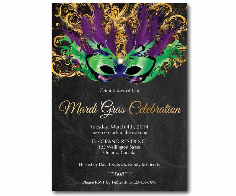 mardi gras invitation mask chalkboard