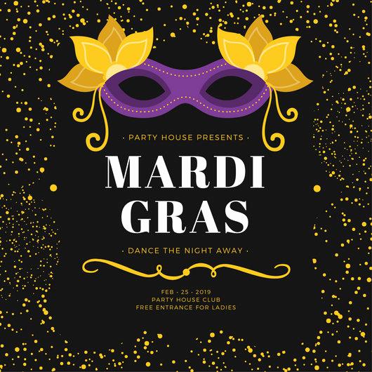 Mardi Gras Invitation Template Luxury Black and Yellow Speckles Mardi Gras Party Invitation