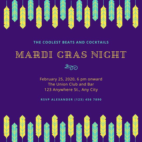 Mardi Gras Invitation Template Luxury Customize 76 Mardi Gras Invitation Templates Online Canva