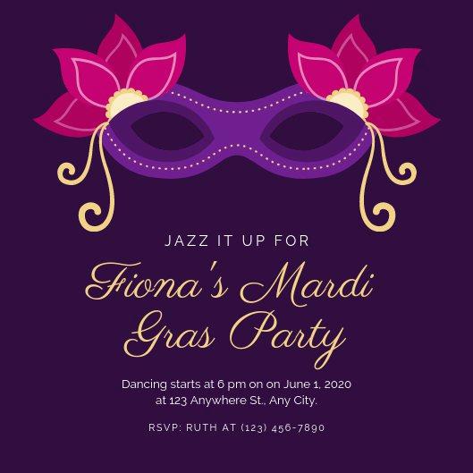 Mardi Gras Invitation Template Luxury Customize 82 Mardi Gras Invitation Templates Online Canva