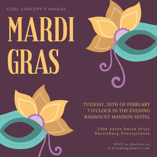 Mardi Gras Invitation Template Luxury Customize 86 Mardi Gras Invitation Templates Online Canva