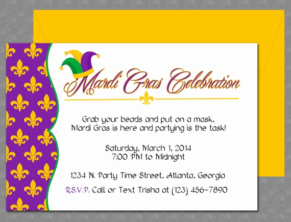 Mardi Gras Invitation Template Luxury Mardi Gras Invitation Design Editable Template Microsoft