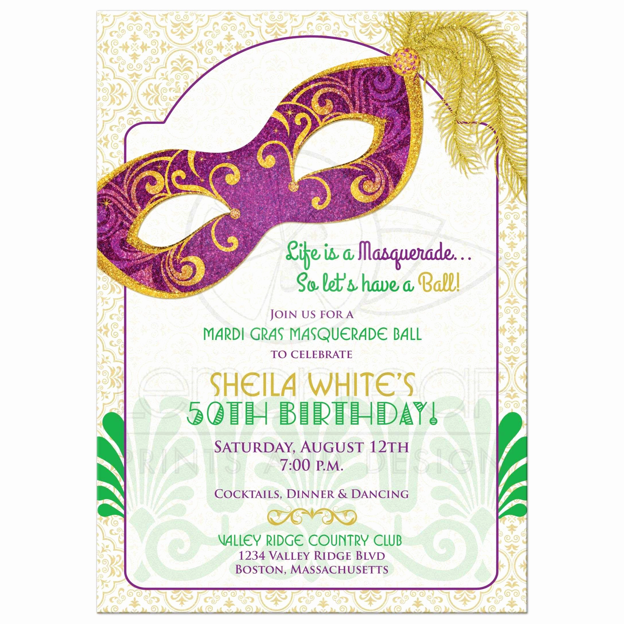 Mardi Gras Invitation Wording Awesome Mardi Gras 50th Birthday Party Invitation Masquerade Mask