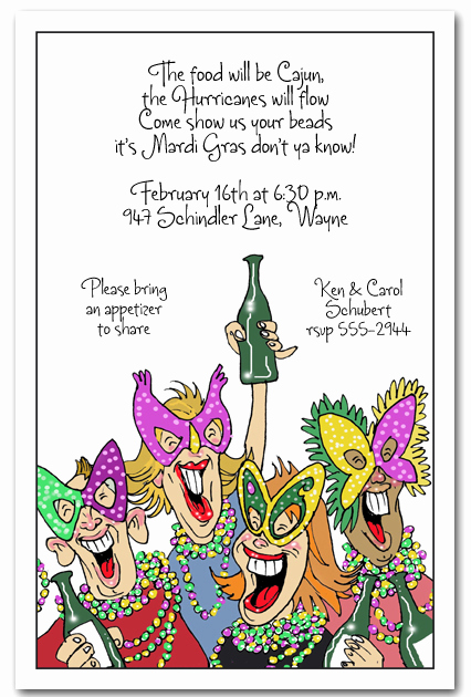 Mardi Gras Invitation Wording Beautiful Revelers Mardi Gras Party Invitations