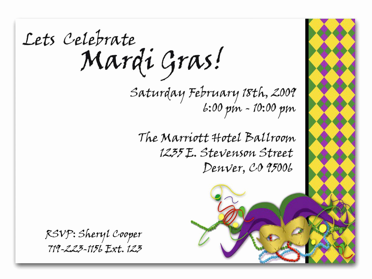 Mardi Gras Invitation Wording Best Of Free Printable Mardi Gras Invitations