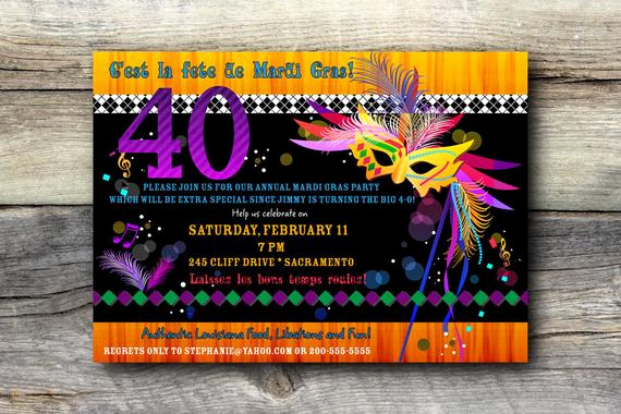 Mardi Gras Invitation Wording Best Of Mardi Gras Invitation Bo Birthday Diy by
