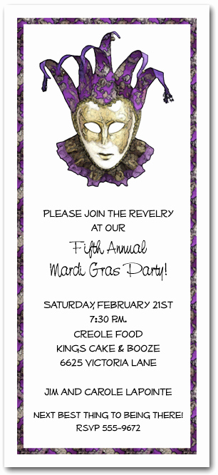 Mardi Gras Invitation Wording Fresh Purple & Gold Mardi Gras Mask Party Invitation Mardi Gras