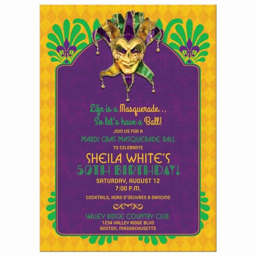Mardi Gras Invitation Wording Inspirational Mardi Gras Birthday Party Invitation Masquerade Purple