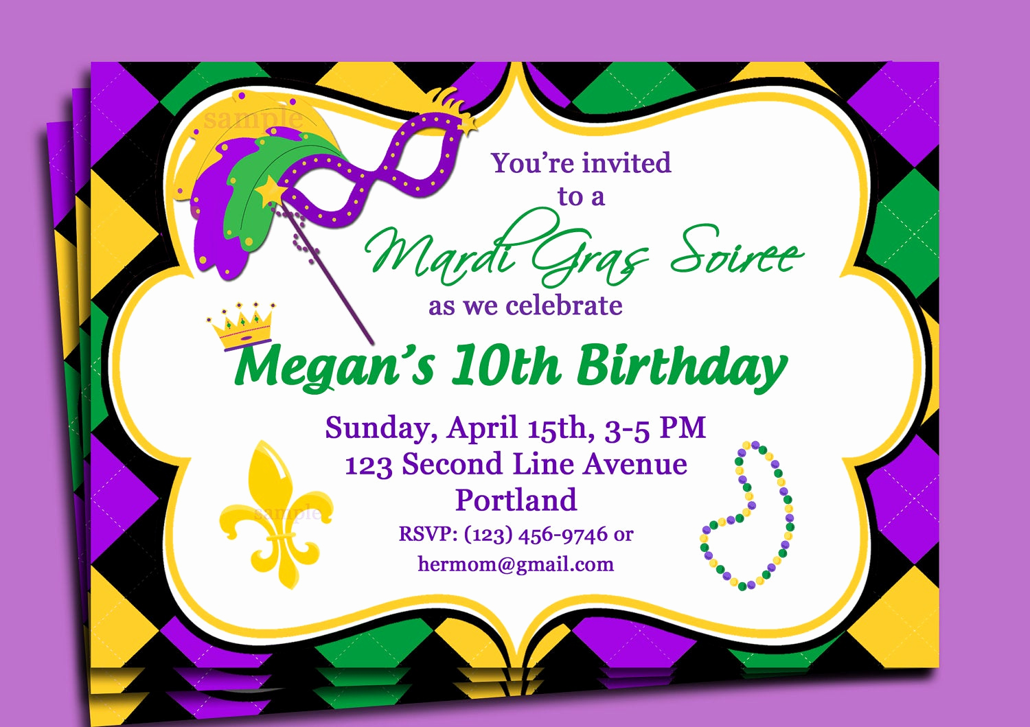 Mardi Gras Invitation Wording Luxury Mardi Gras Carnival Invitation Printable or Printed with Free