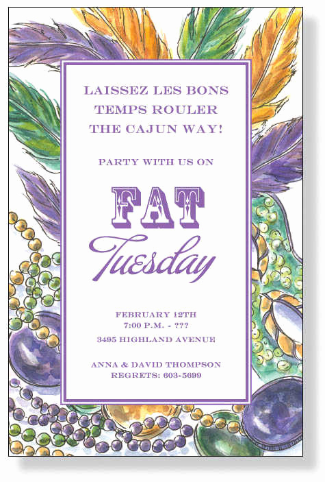 Mardi Gras Invitation Wording Luxury Mardi Gras Party themes & themed Invitations