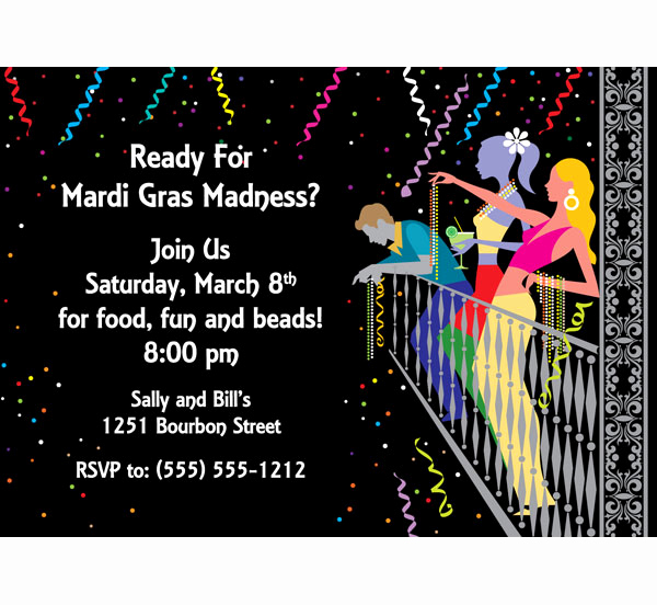 Mardi Gras Invitation Wording New A Mardi Gras Balcony Invitation